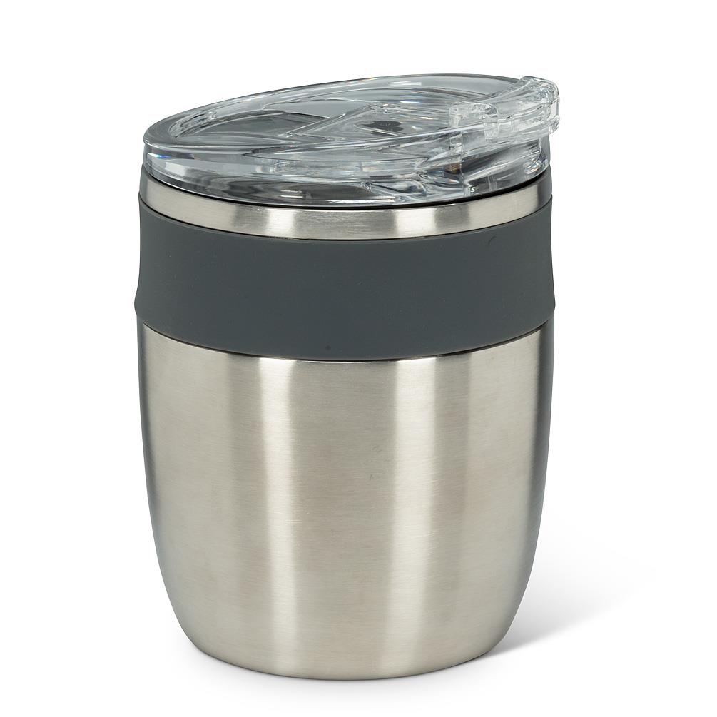 Bevi Insulated Tumbler With Flip Top Lid - Silver