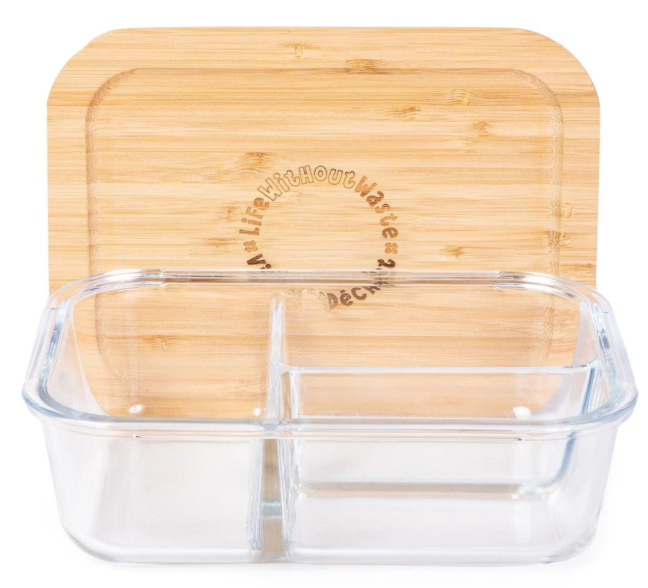 Life Without Waste 3-Compartment Divided Glass Lunch Container