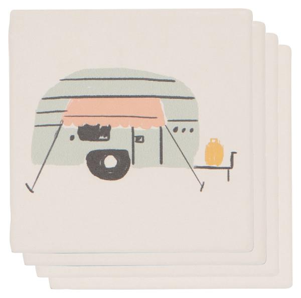 Now Designs Soak Up Happy Camper Square Coaster Set of 4