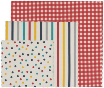 Now Designs Gingham Dot Stripe Beeswax Food Wrap Set of 3