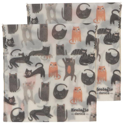 Now Designs Cats Beeswax Sandwich Bags Set of 2