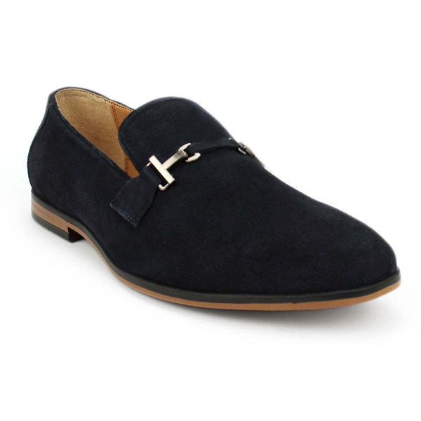 Blue Suede Leather Buckle Loafers