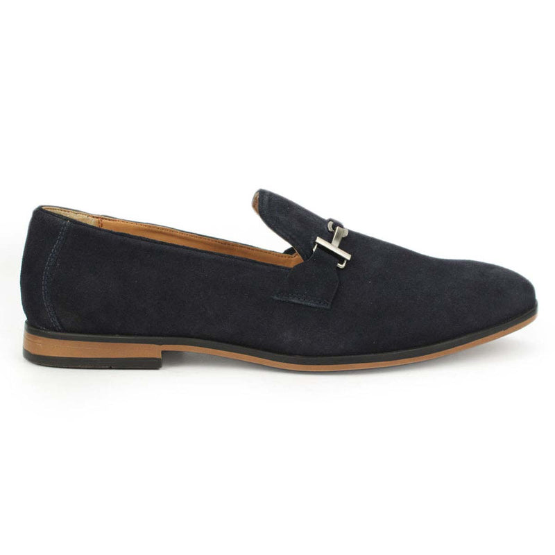 Blue Suede Leather Buckel Loafers
