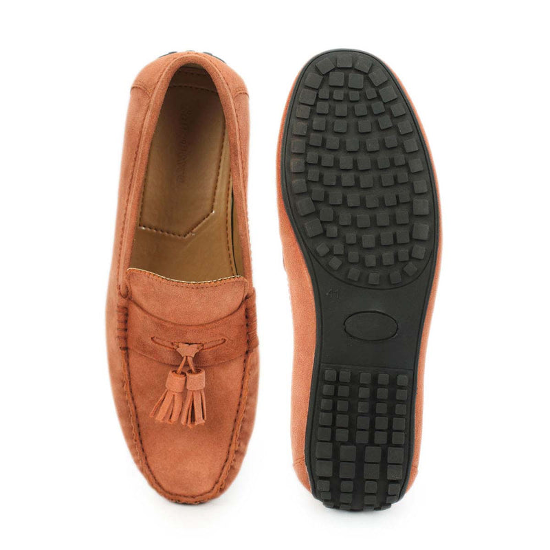 Peach Suede Leather Tassel Loafers
