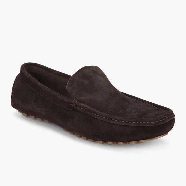 Brown Suede Leather Driving Loafers