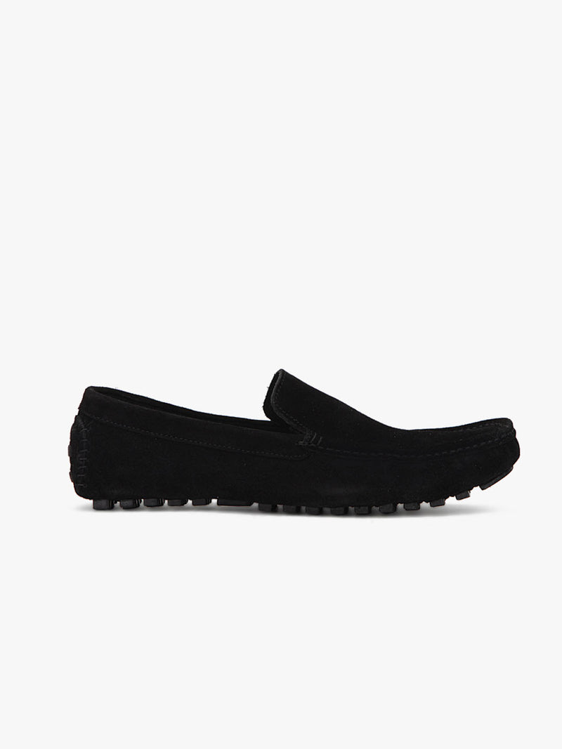 Black Suede Driving Loafers