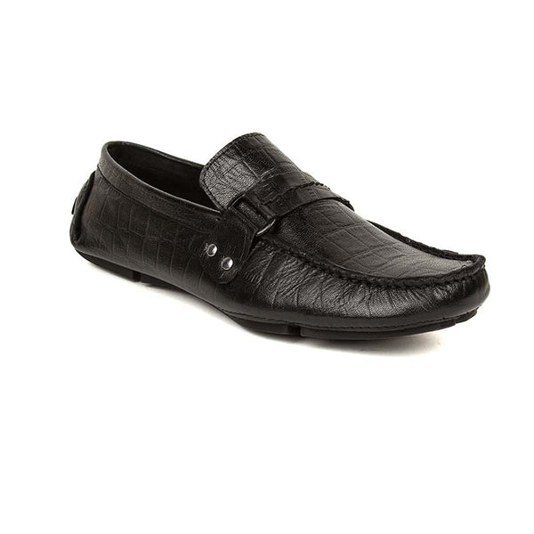 Black Croco Leather Loafers