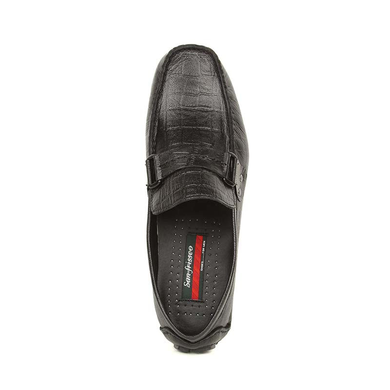 Black Croco Leather Driving Loafers