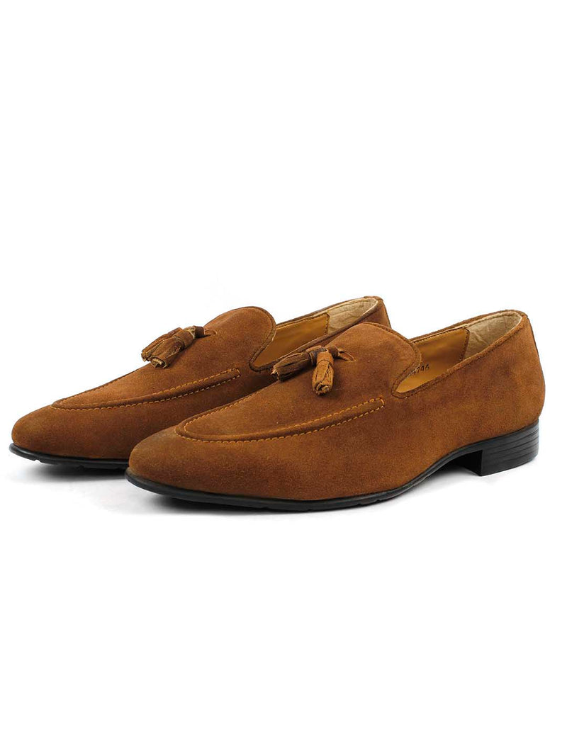 Tan Suede Leather Tassel Loafers