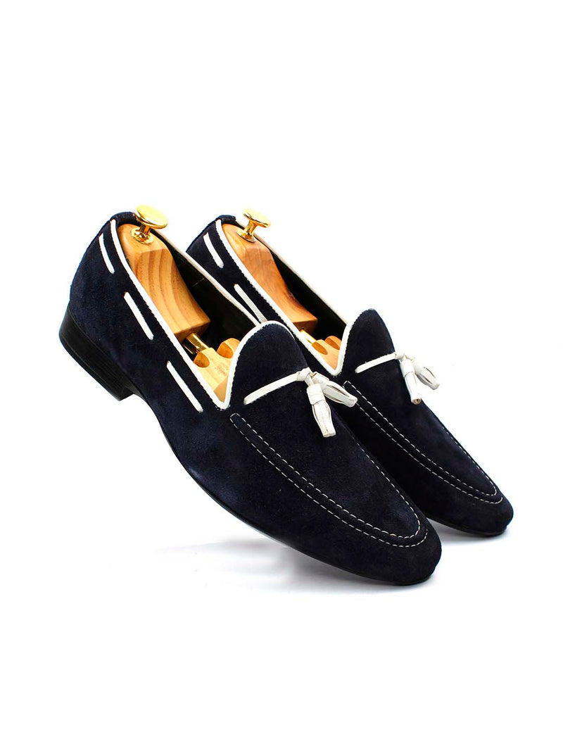 Blue Suede Leather Tassel Loafers