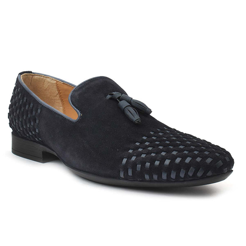 Blue Textured Suede Leather Tassel Loafers