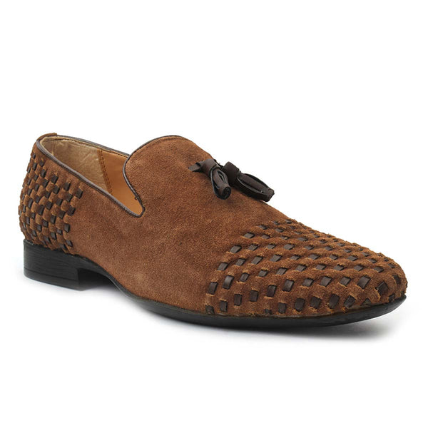 Tan Textured Suede Leather Tassel Loafers