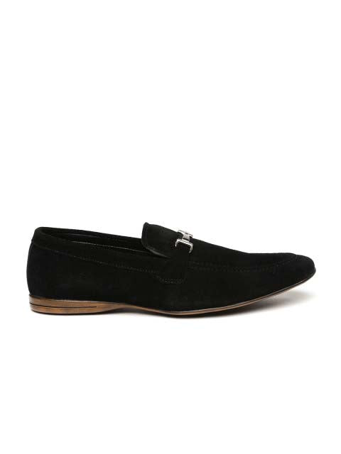 Black Stylish Suede Buckle Loafers