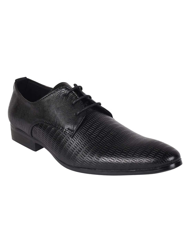 Black Textured Derby Formal Shoes
