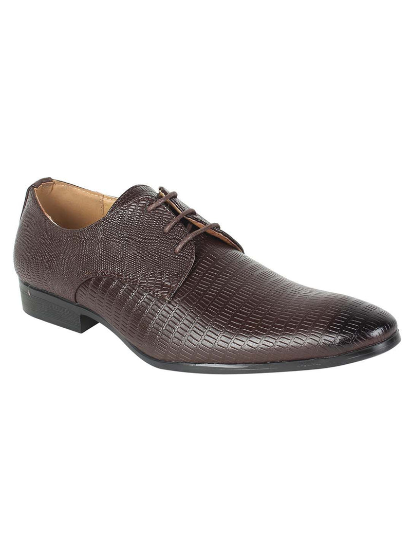 Brown Textured Derby Formal Shoes