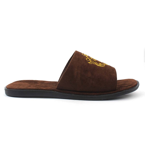 Brown Embroidered Leo Slides