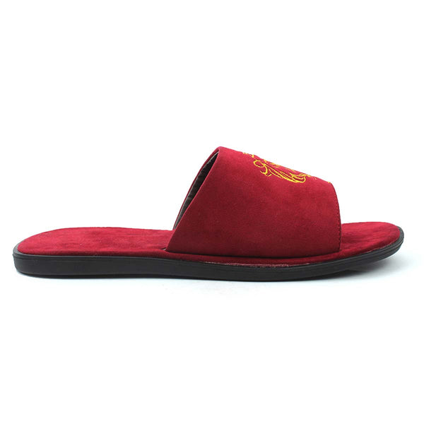 Red Embroidered Leo Slides