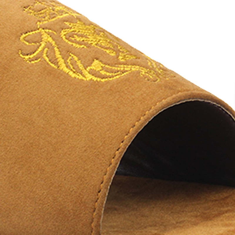 Tan Embroidered Leo Slides