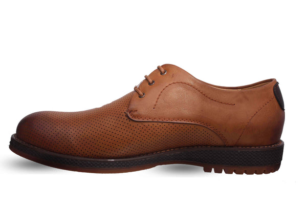 Tan Perforated Casual Derby