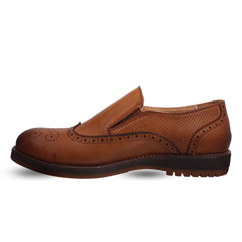 Tan Slip-on Brogue Shoes