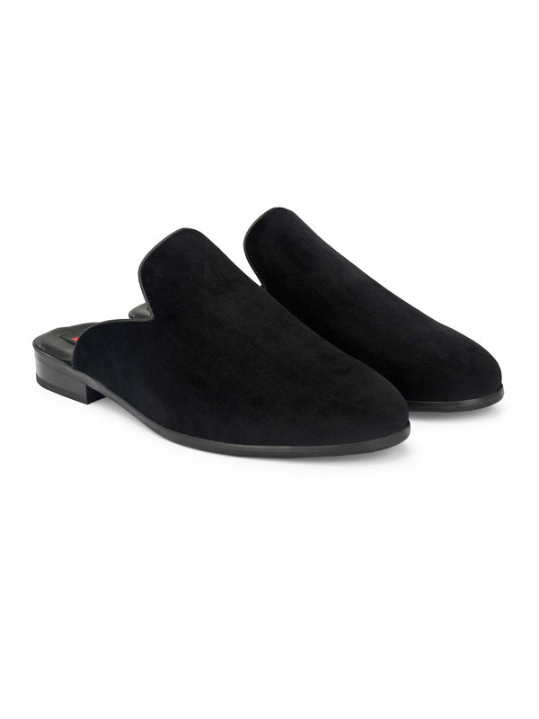 Black plain velvet Mules