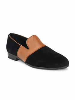 Black Velvet & leather Combo Loafers