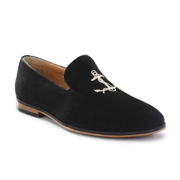 Black Anchor Embroided Loafers