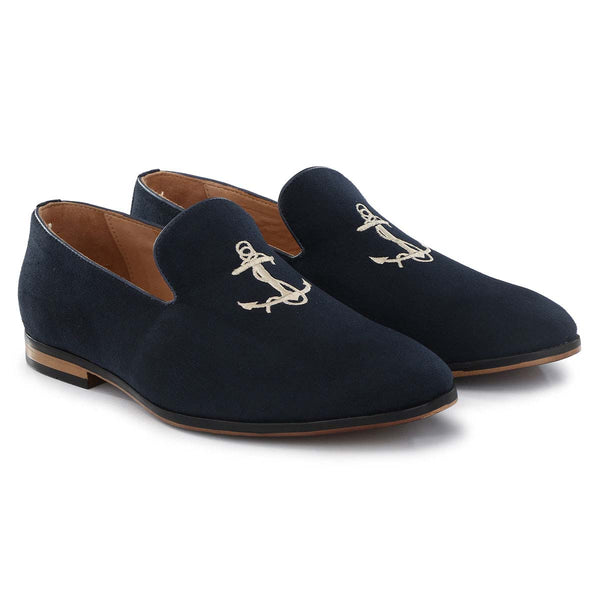 Blue Anchor Embroidered Loafers