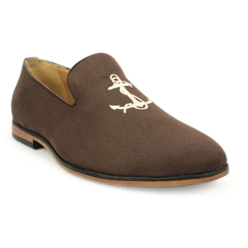 Brown Anchor Embroidered Loafers