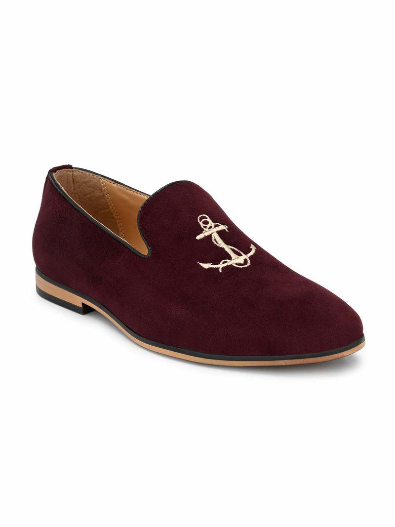 Cherry Anchor Embroidered Loafers