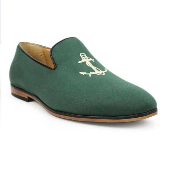 Green Anchor Embroidered Loafers
