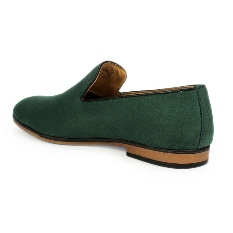 Green Embroidered Suede Loafers