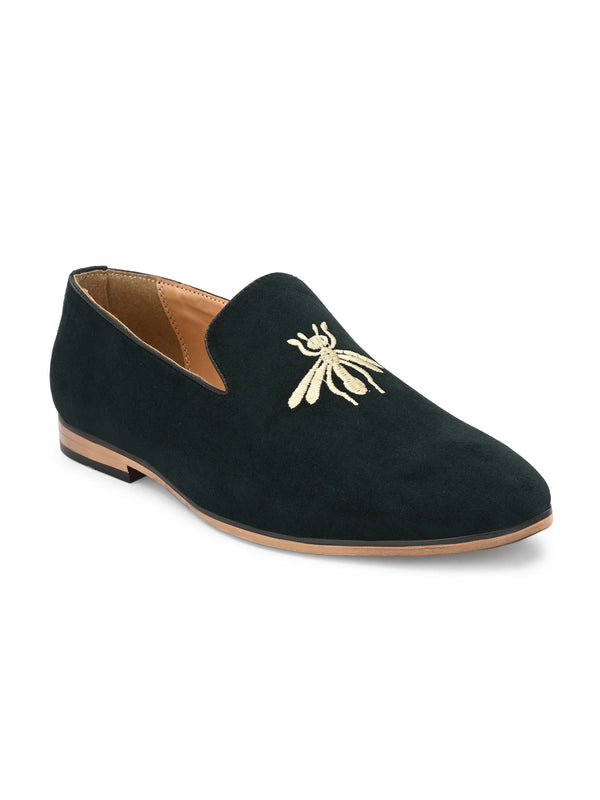 Dark Green Embroidered Loafers