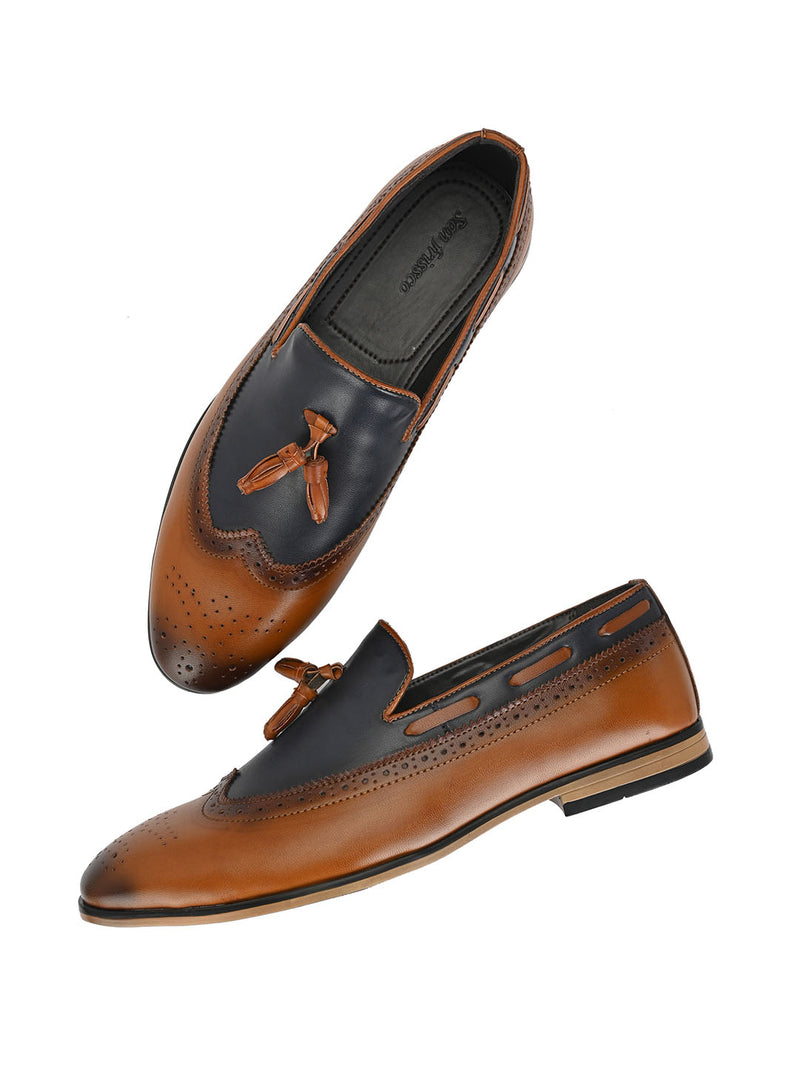 Tan Cap-Toe Tassel Loafers