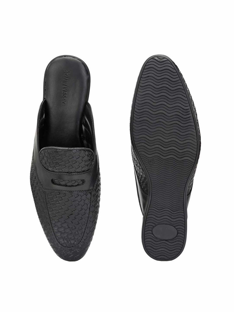 Black Woven Textured Mules
