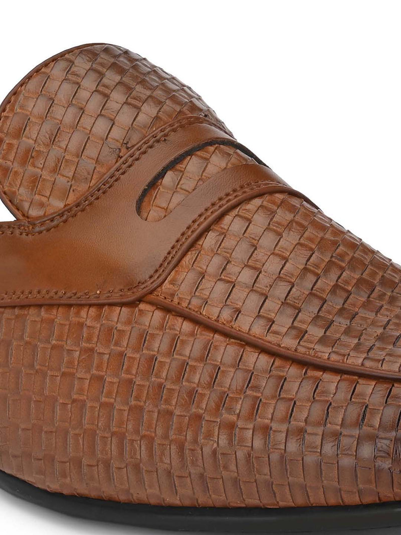 Tan Woven Textured Mules