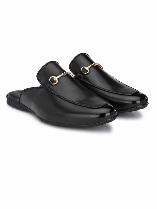 Black Horsebit Buckle Mules