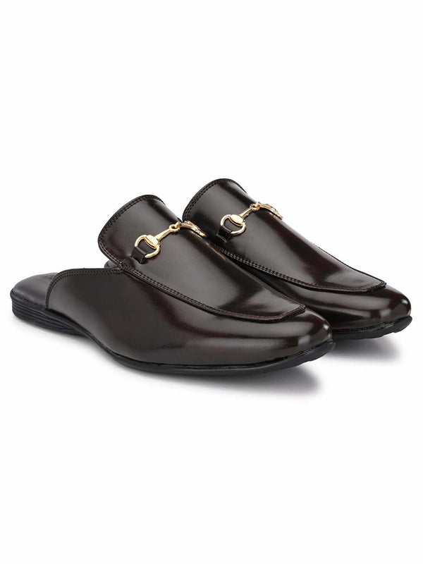 Brown Horsebit Buckle Mules