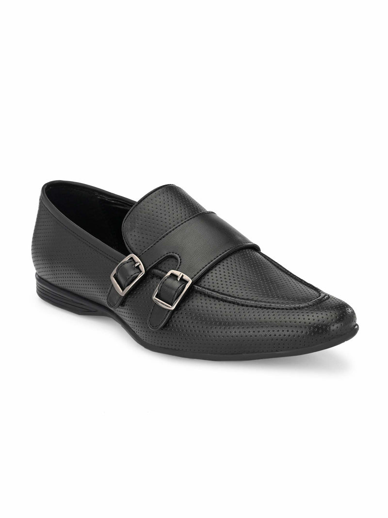 Black Perforated Monk-Straps