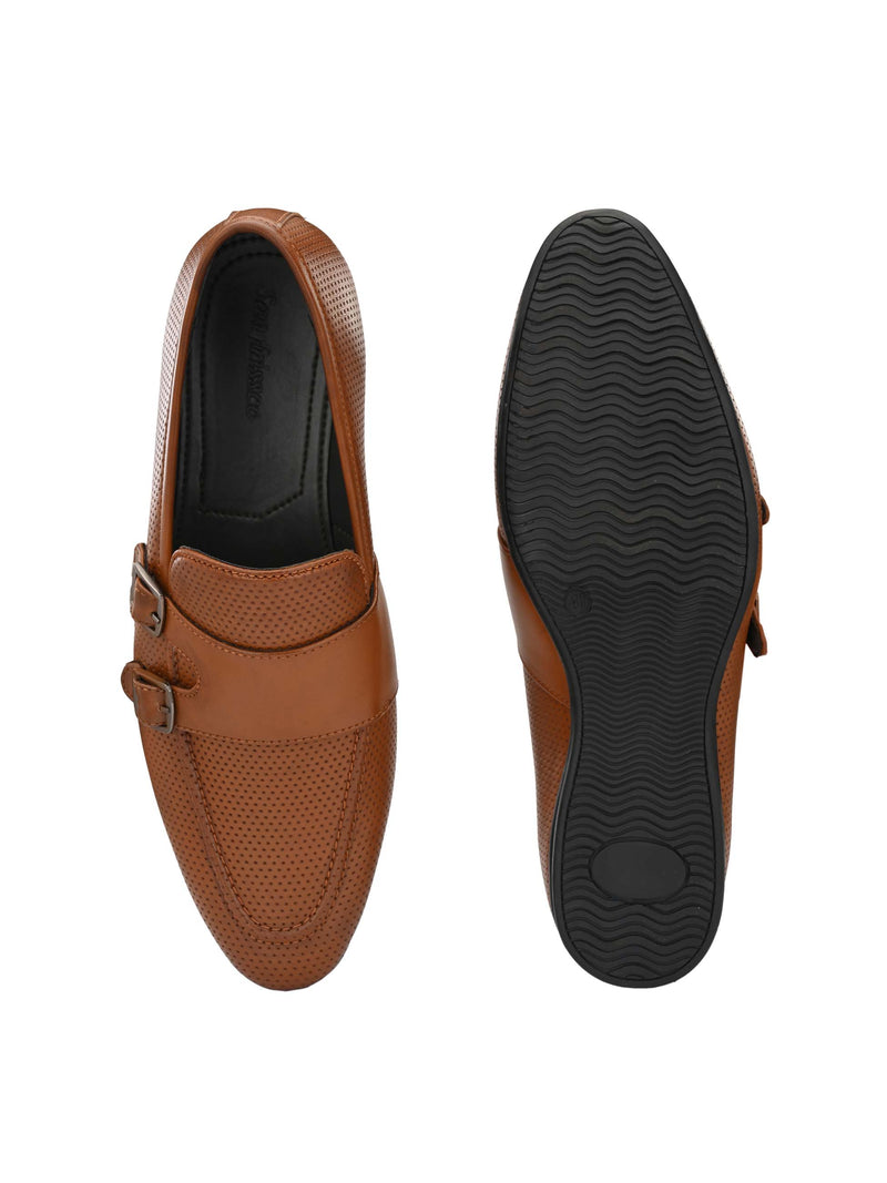 Tan Perforated Monk-Straps
