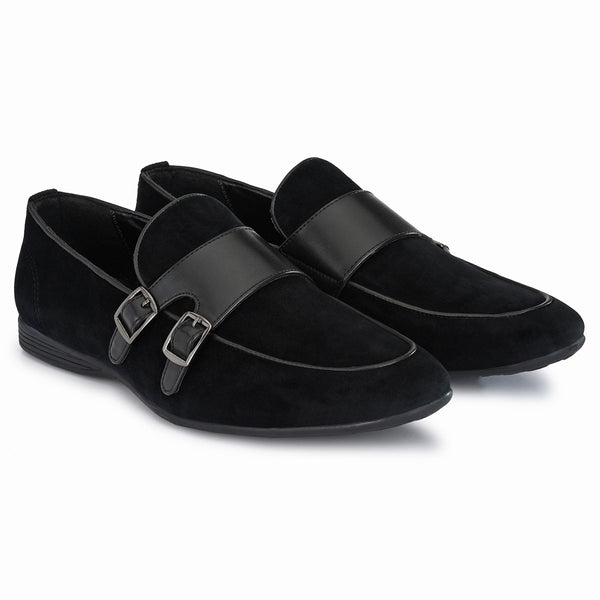 Black Velvet Double Monk-Straps