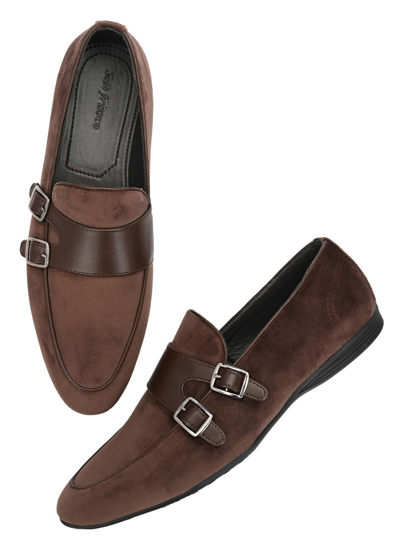 Brown Double Monk Leather Loafers