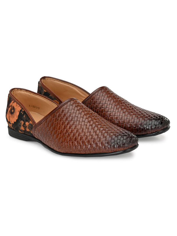 Basketweave Brown Mojaris