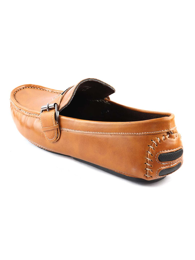 Tan Casual Loafers with Buckle Strap
