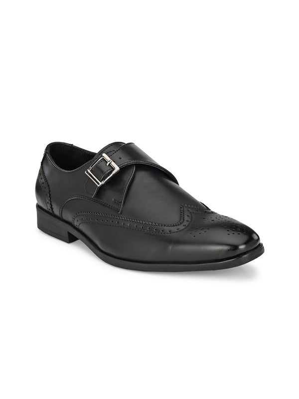 Dario Black Single Monk Shoes