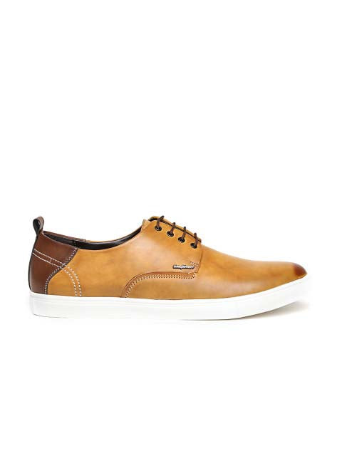 Tan Two-Tone Lace-up Sneakers
