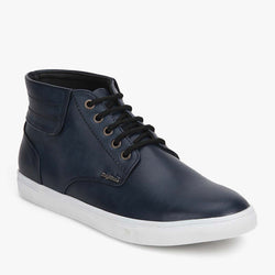 Blue High Ankle Lace-up Sneakers