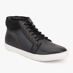 Black High Ankle Lace-up Sneakers