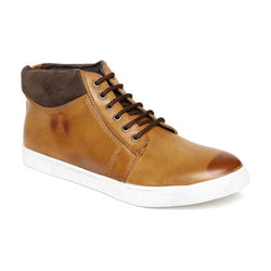 Tan High Ankle Lace-up Sneakers
