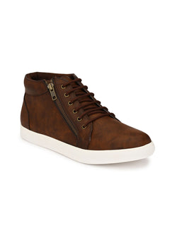 Brown High Ankle Zipped Sneakers